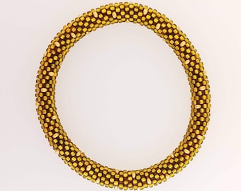 Bead Crochet Bracelet - Brown with gold dots
