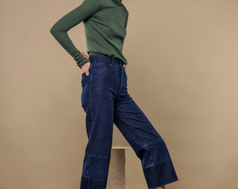 50% OFF | HIGH WAIST denim blue jeans - these cropped jeans feature latest tren on classic blue denim and crop