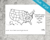 Map of United States of America (USA) Planner Stickers  - Printable