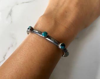 Vintage Sterling Silver + Turquoise Cuff Bracelet