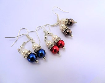 Small Round Pearl Drop Earrings/ Set of 3 Pairs/ Red Navy blue Chocolate Brown Pearl Drop/ 3 Pairs Earrings Gift / Colorful Pearl drops.