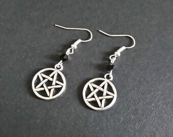 Pentacle Earrings | Pentagram Earrings | Gothic Earrings | silver | black | Witch Earrings