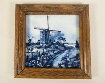 Delfts blue tile, Mosa Holland, J.C. van Hunnik, windmill, mill, dutch landscape, Blue and White pottery 1
