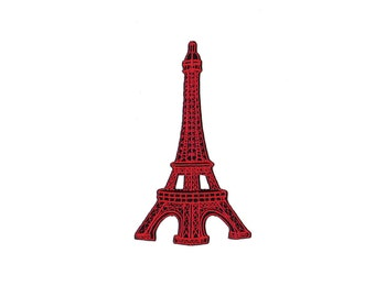 Eiffel Tower Patch -  Red Eiffel Tower Embroidered Iron on Patch -  Eiffel Tower   Iron on Applique