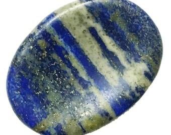 Natural Lapis Lazuli Palm Stone - Blue Worry Stone, Thumb Stone, Chakra, Crystal Healing