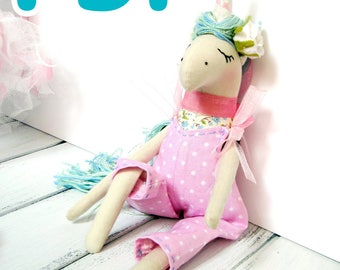 PDF Pattern + video tutorial. How to sew a unicorn toy.