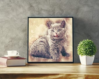 British Blue Kitten Art Custom Animal Print Custom Cat Wall Art British Blue Cat Wall Art Custom Pet Portrait Cat Gift British Shorthair Cat