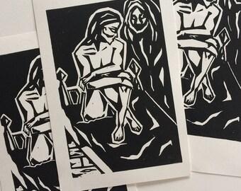 "Tristesse - 4x6"" Linocut Print"