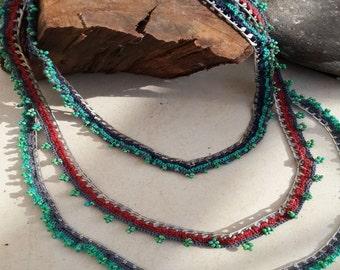 Fashion crochet necklace, Colorful crochet necklace, Boho crochet necklace, Unique crochet necklace, Crochet necklace