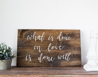 Rustic barn wood calligraphy sign | Love sign | Home decor