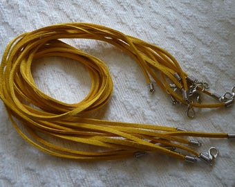 Faux Suede Cord, Leather Necklace Cord with Lobster Clasp, 5x Yellow Suede Leather String, 20 inch Necklace Cords, DIY Jewelry Findings
