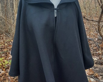 Short Fleece Cloak - Black Full Circle Cloak Cape with Hood