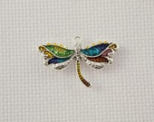 Small Silver and Enamel Dragonfly Needleminder / Small Colourful Dragonfly Needleminder