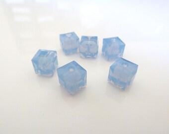6pcs 8mm Swarovski Cube Air Blue Opal Crystals- Swarovski Air Blue Opal- Swarovski 5601 Air Blue Opal- Swarovski Blue Opal- Item ABO8C
