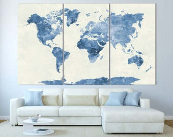 Blue Watercolor World Map Print Set Abstract World Map Print navy blue world map 3 or 5 Panels on Canvas Wall Art for Home & Office Decor