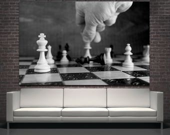 Large black and white chess board wall art, Black King chess gift wall art home decor, Chess board game room decor canvas print photography