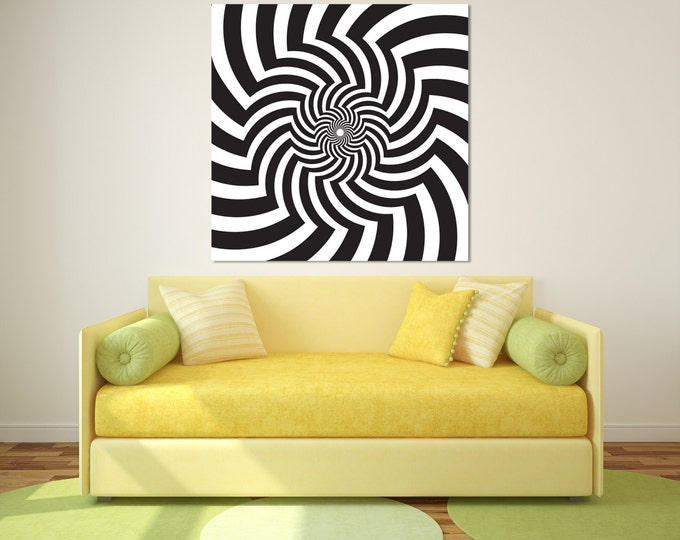 15% OFF coupon on Black & white optical illusion wall art print on ...