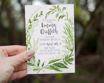 Printed baby shower invitation, Greenery Baby Shower Invite, garden baby shower,  Boho Foliage invitation, Printed or Digital Option