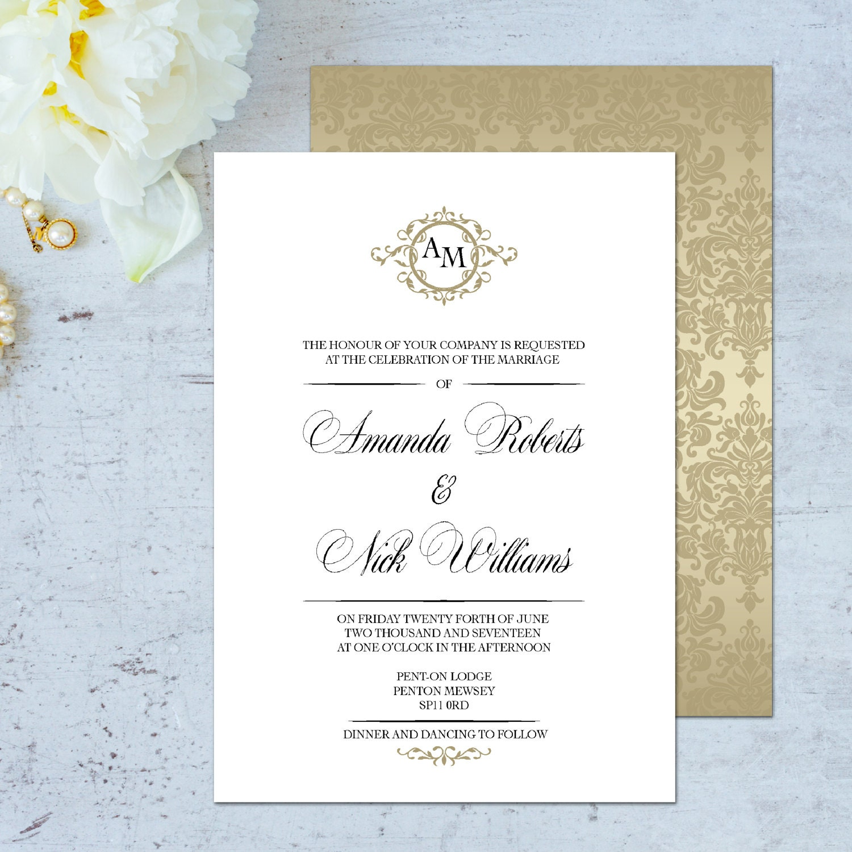 Gold wedding invitation gold classic wedding invitation kits – Gold Wedding Invitation Kit