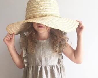 Girls Natural Linen Ruffle Dress, Toddler Frills Dress,