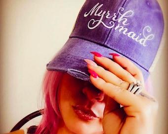 Distressed Trucker Hat:   Myrrh Maid  Essential Oils Hats   doTERRA   Young Living   Team   Convention