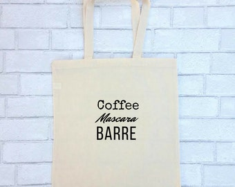 Barre Tote Bag | Coffee Mascara Barre | FREE SHIPPING Canvas Tote Purse | Barre Tote Ballet Bag