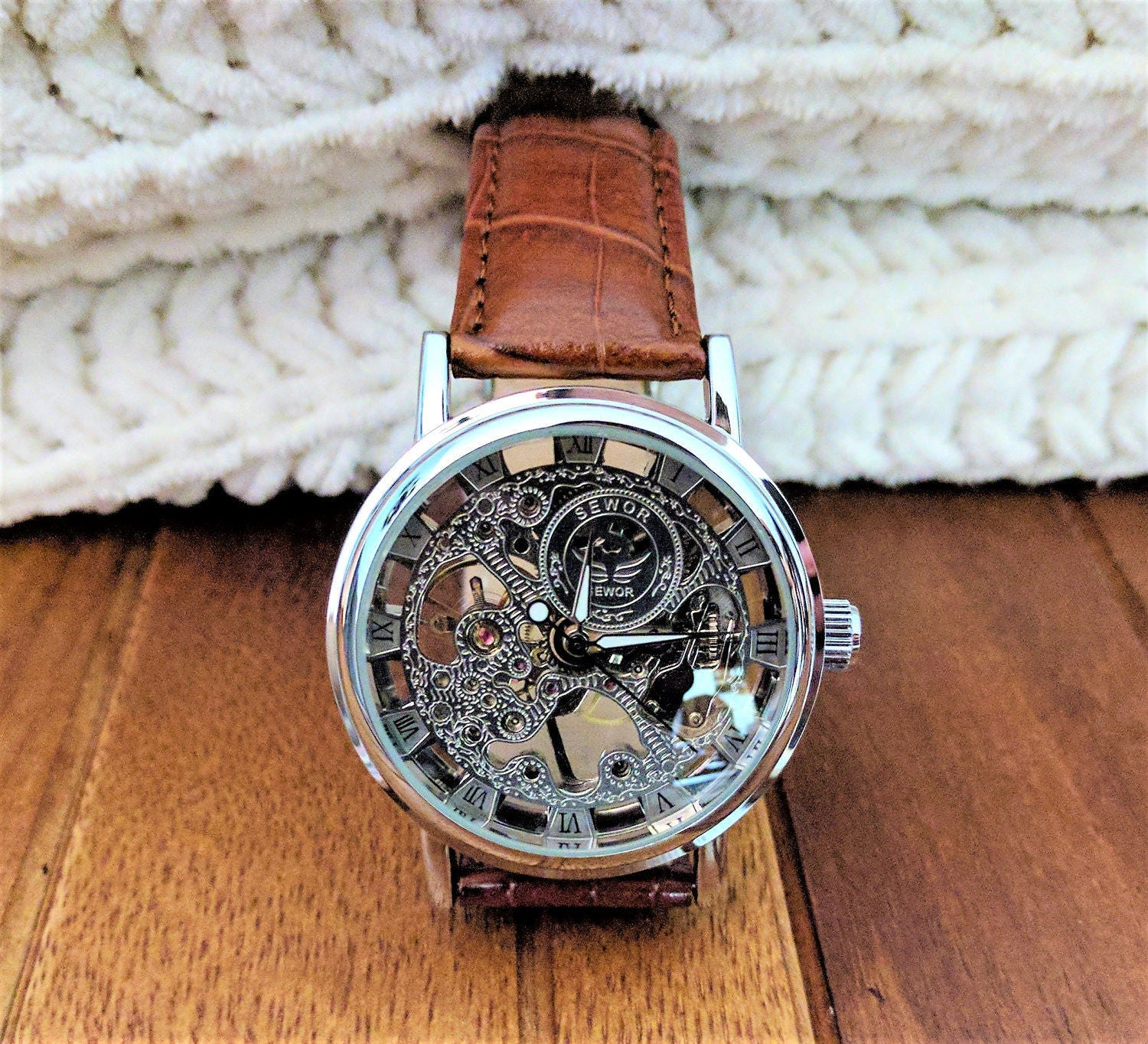 engraved watch personalized watch for men engraved wristwatch skeleton watch automatic watch groomsmen watches man leather wrist watch boyfriend gift