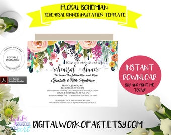 Rehearsal Dinner Invitation Template, DIY Floral Bohemian Rehearsal Dinner Printable, Rehearsal Invite,  Editable PDF instant download,boho