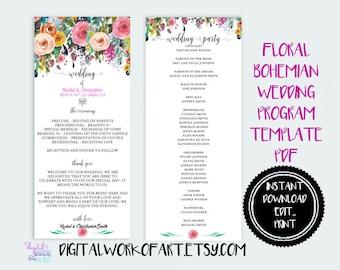 Wedding Program Template, DIY Floral Bohemian Wedding Program Template, Editable PDF instant download, boho, roses, wedding ceremony program