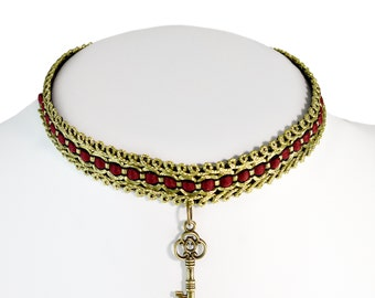 Key Choker Necklace - Gold and Red - Choker Necklace - Free US Shipping