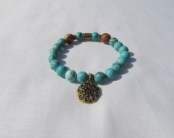Turquoise & Wood Charmed Bracelet