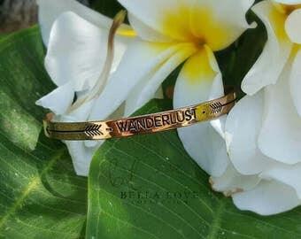Wanderlust Bracelet, Wanderlust Bangle, Inspirational Bracelet, Message Bangle, Engraved Bracelet, Coworker Gift Jewelry