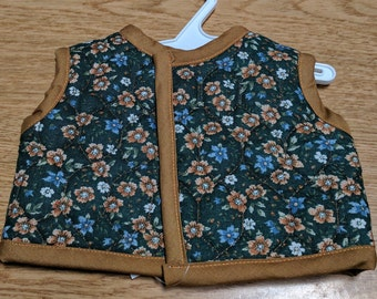 "Brown and Flowered Quilted Vest for 18"" Doll"