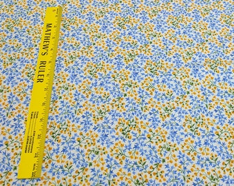 Summer Breeze III-Yellow and Blue Flowers Cotton Fabric-by Moda Fabrics