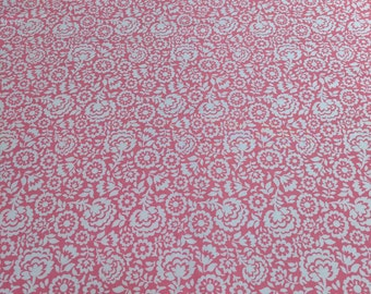 White Flowers on Pink Cotton Fabric from Michael Miller