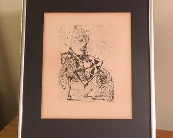 Salvador Dali Original Authentic 1960s El Cid Etching Print with Collectors Guild COA - Signed and Framed