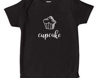 Cupcake - Baby Onesie, Baby Bodysuit, Baby Clothes, Baby Shower Gift - Black with White Print