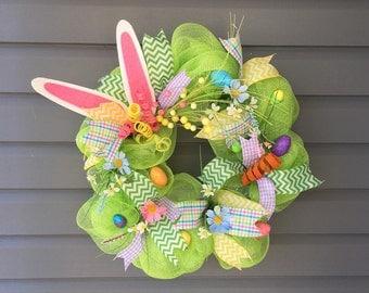 Editor's Pick-Easter Wreath For Front Door, Easter Mesh Wreath, Deco Mesh Wreath, Easter Wreath, Bunny Wreath, Easter Egg Wreath
