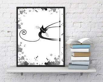 Cat print, Pole dance, Funny cat, Printable art, Watercolor painting, Wall art, Digital print, Dancing, Minimalist print, Instant download