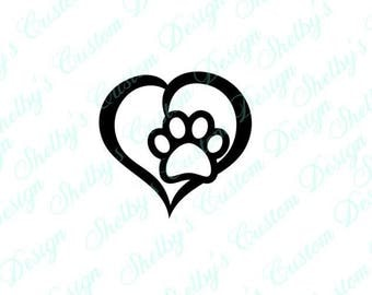 Love Paw Print Wall Decal, Love Paw Print Wall Stickers, Love Paw Print Wall Art, Modern Wall Decals, Vinyl Wall Decals
