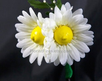 Boob-onniere™ Gerbera Daisy Wedding Boutonniere Bachelorette Party Corsage Silk Flower Accessory Petite Bridesmaid Bouquet