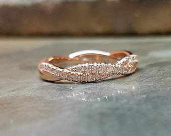 14K Rose Gold infinity Vine Twist Micropave Diamond Half Eternity Pave Band 3.5mm Diamond Band, Stackable Band,Diamond Wedding Ring