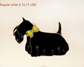 Sale! Scottish Terrier with Yellow Bow Tie Collar Stained Glass Suncatcher, Window Decoration, Tiffany technique, Scottie Lover Gift