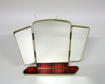 Reserved for Abbasi-Retro checkered mirror with shelf-Vintage vanity mirror to hang-fold out mirror