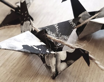 Recycled Black & White Ink Hanging Origami Paper Cranes String Chain : Japanese / Art / Japan / Monochrome / Paper Birds / Bunting