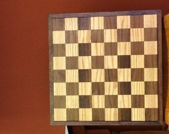 Red Oak & Black Walnut Chess/Checker Board with Border