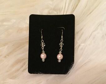 Baby Pink Crystal Earrings