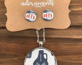 Beer Earrings - Beer Necklace - beer enthusiast - Fabric Jewelry