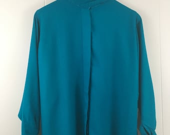 Vintage 80's Funnel Neck Batwing Sleeve Blouse S M