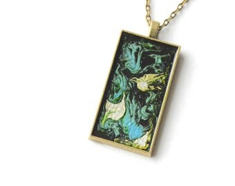 Abstract Paint Necklace, Colorful Art Pendant, Modern Necklace, Doves, Rectangle, Square, Bronze